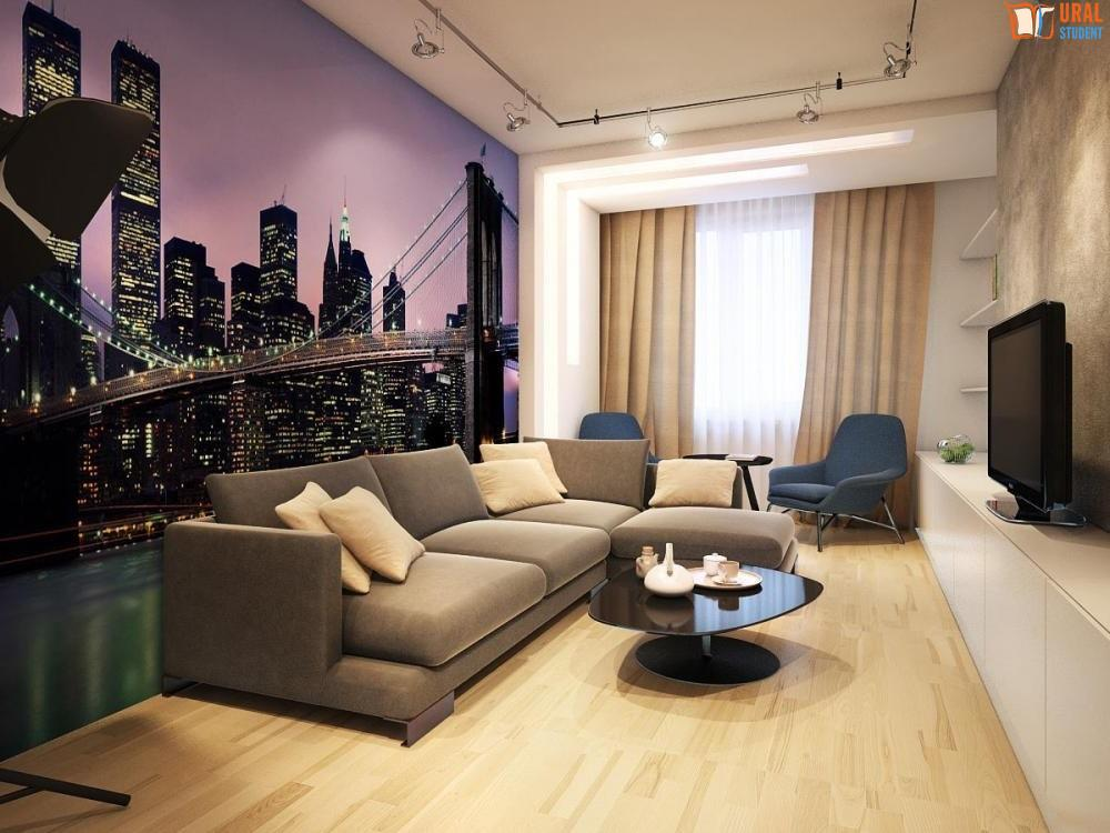 Дизайн интерьера гостиной с фотообоями ночной город фото