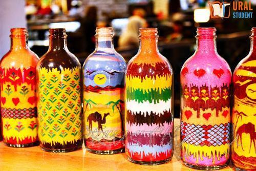 Рисунок песком в бутылке мастер класс